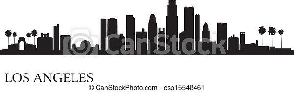 los, fond, angeles, horizon, ville, silhouette - csp15548461
