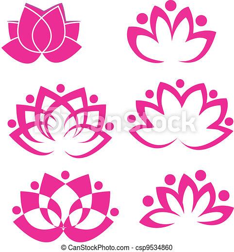 lotus, logo, fleurs, ensemble, vecteur - csp9534860
