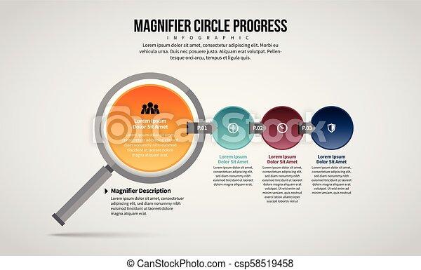 loupe, cercle, infographic, progrès - csp58519458