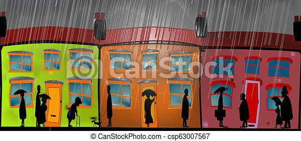 lourd, lustré, pluie, dessin - csp63007567
