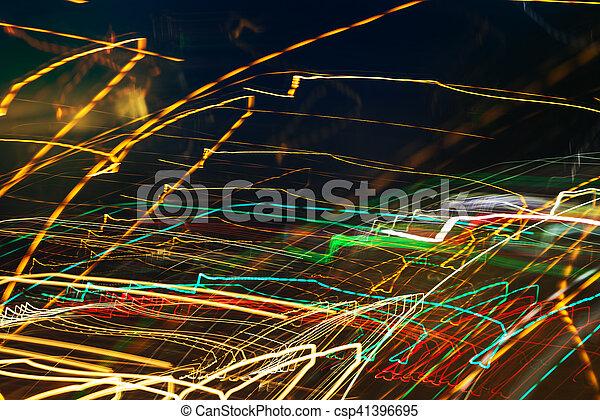 lumière colorée, résumé, long, rue, fond, exposition - csp41396695