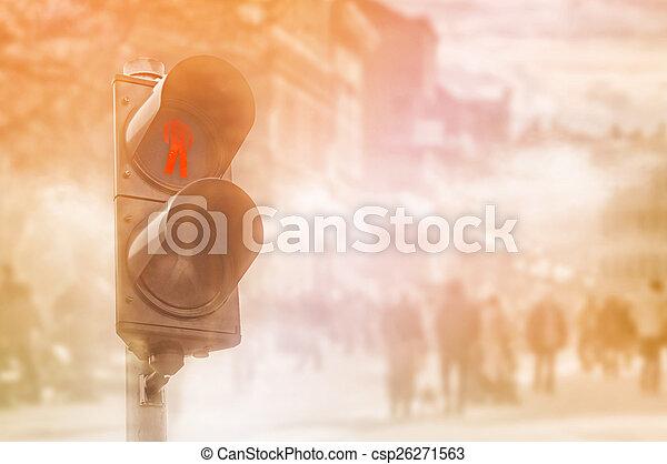 lumière, trafic, rouges, piétons - csp26271563
