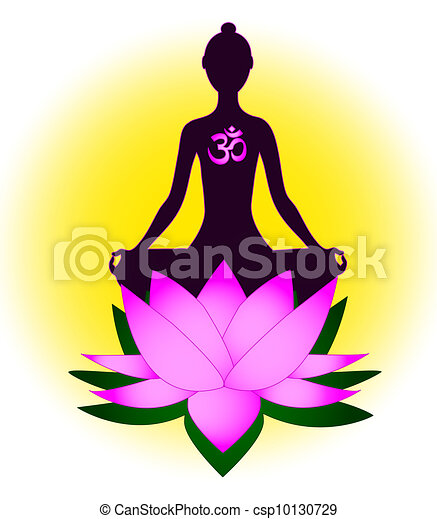 méditer, femme, symbole om - csp10130729