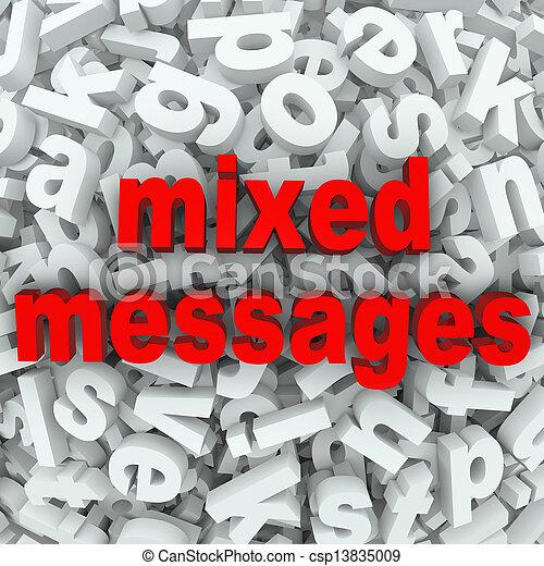 mélangé, communication pauvre, messages, mal compris - csp13835009