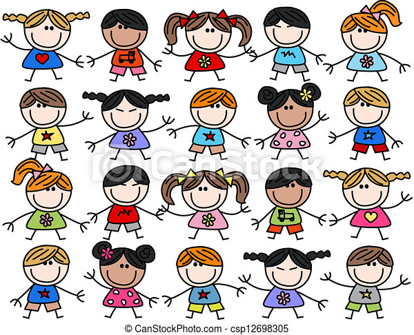 mélangé, gosses, enfants, ethnique, heureux - csp12698305