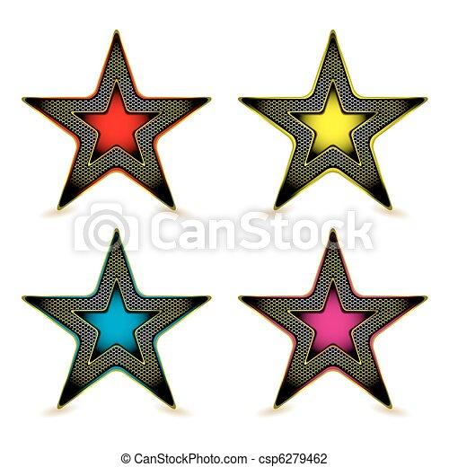 métal, hexagone, étoile, récompense - csp6279462