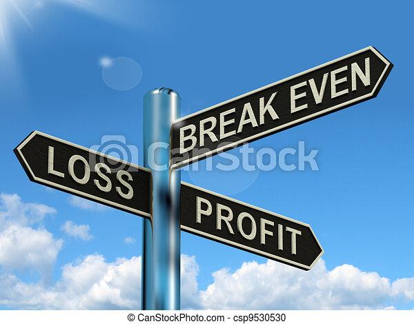 même, perte, profit, poteau indicateur, ou, coupure, revenus, investissement, profite, spectacles - csp9530530