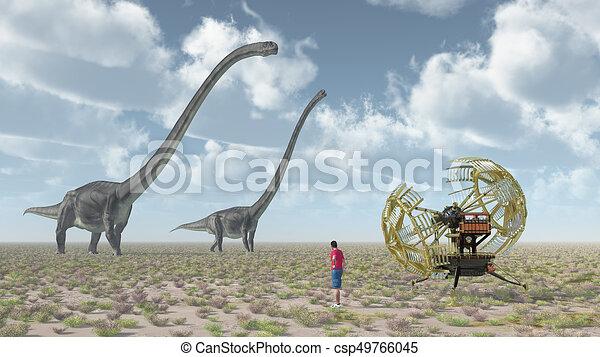 machine, dinosaure, omeisaurus, voyageur, temps - csp49766045