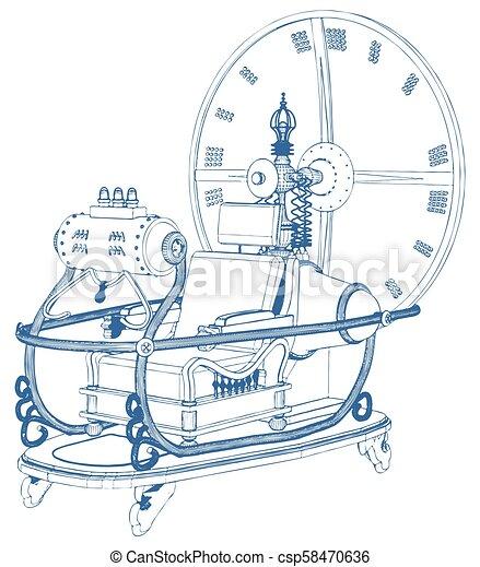 machine temps, 04, vecteur - csp58470636