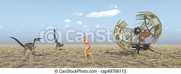 machine, temps, voyageur, dinosaures - csp49766113