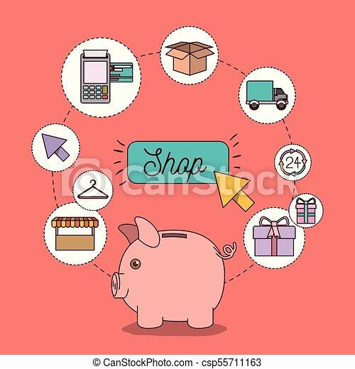 magasin, ensemble, icônes, couleur, lumière, tirelire, saumon, économies, fond - csp55711163