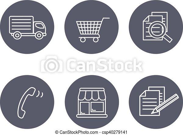 magasin, symboles, termes, conditions, gris, -, bouton, registre, magasins, signe, comment, vecteur, expédition, contact, navigation, achat, circulaire - csp40279141