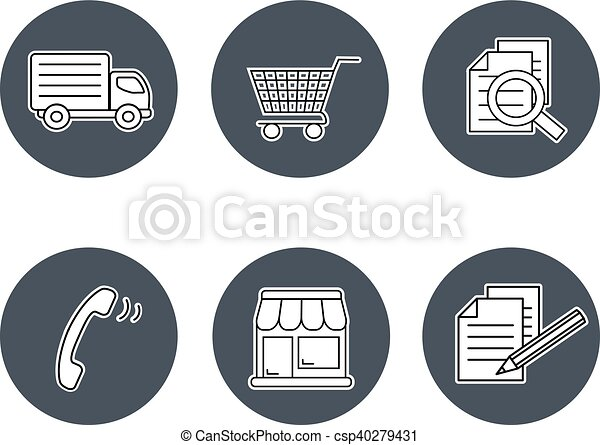 magasin, symboles, termes, conditions, gris, -, bouton, registre, magasins, signe, comment, vecteur, expédition, contact, navigation, achat, circulaire - csp40279431
