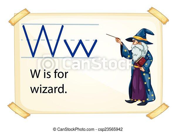 magicien, lettre, w - csp23565942
