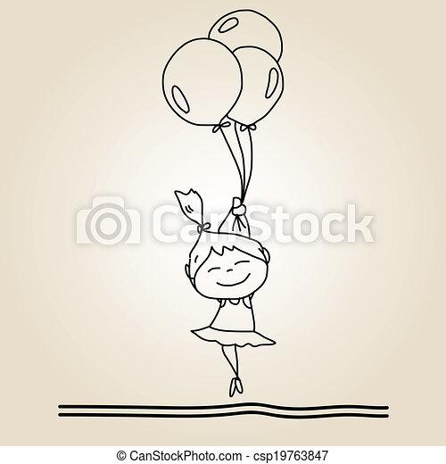 main, dessin animé, bonheur, dessin - csp19763847