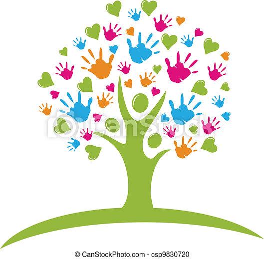 mains, cœurs, arbre, figures - csp9830720
