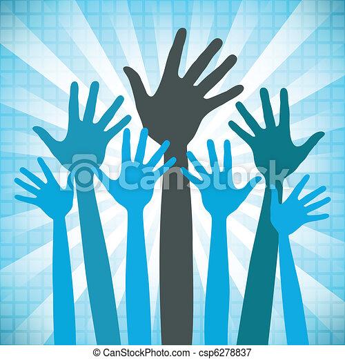 mains, heureux, groupe, grand, design. - csp6278837