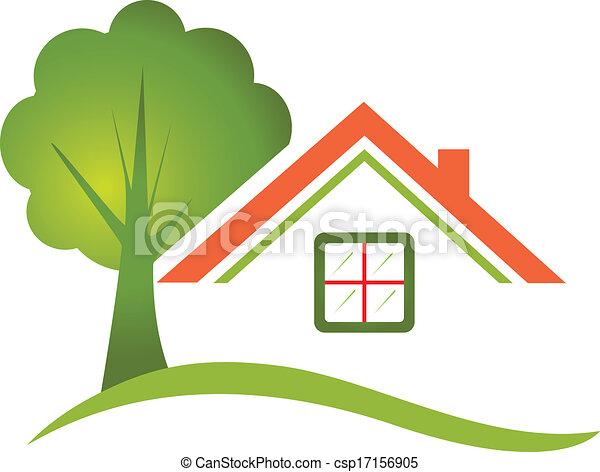 maison, arbre, vrai, logo, propriété - csp17156905