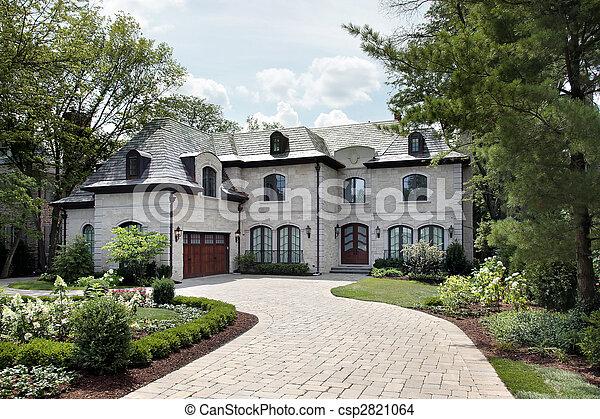 maison, circulaire, allée, luxe - csp2821064