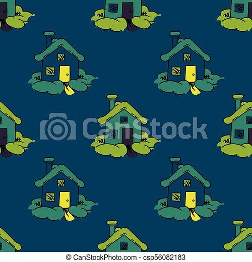 maison, doux, seamless, modèle - csp56082183