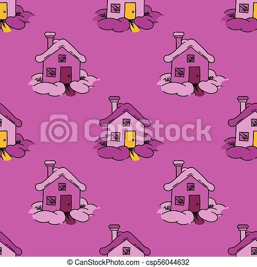 maison, doux, seamless, modèle - csp56044632