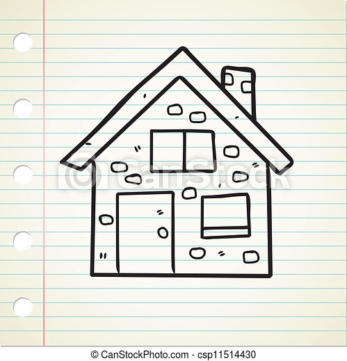 maison, griffonnage - csp11514430
