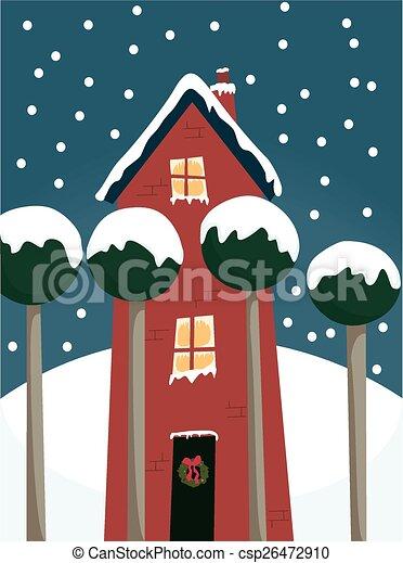 maison, hiver - csp26472910