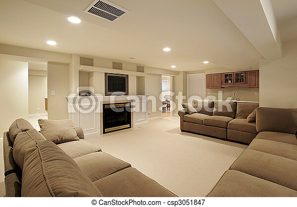 maison, luxe, sous-sol - csp3051847