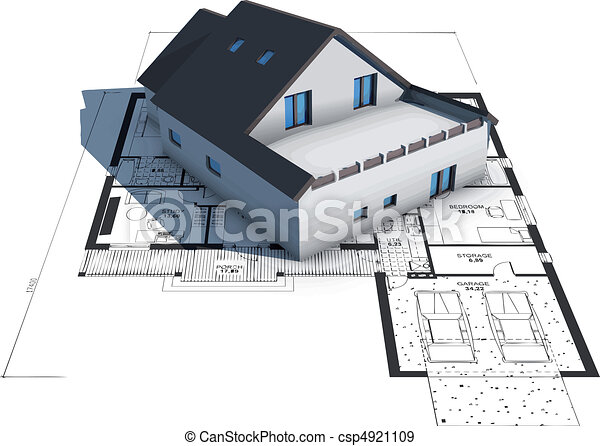 maison, modèles, modèle, sommet, architecture - csp4921109