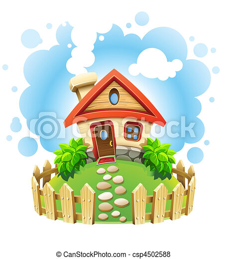 maison, pelouse, fée-conte, barrière - csp4502588
