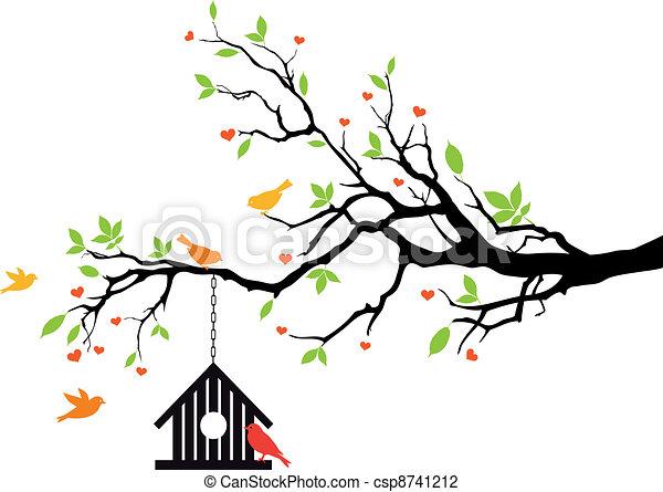 maison, printemps, vecteur, oiseau, arbre - csp8741212