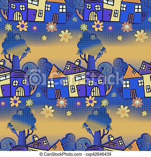 maison, seamless, fond, dessin animé - csp42646439