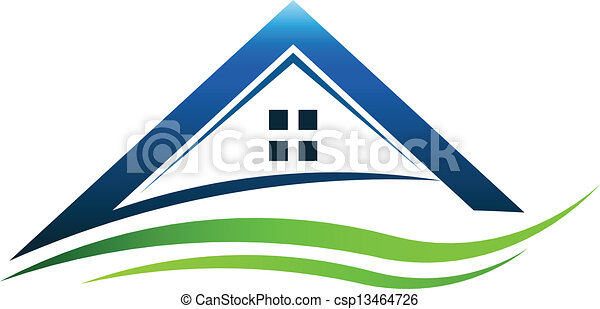 maison, signe, vert, swoosh - csp13464726