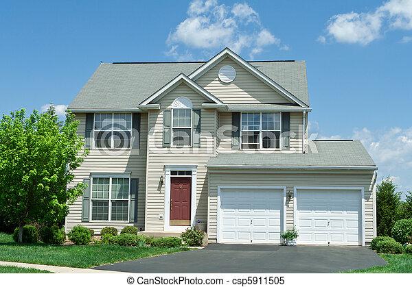 maison, vinyle, devant, famille seule, md, maison, prendre parti - csp5911505