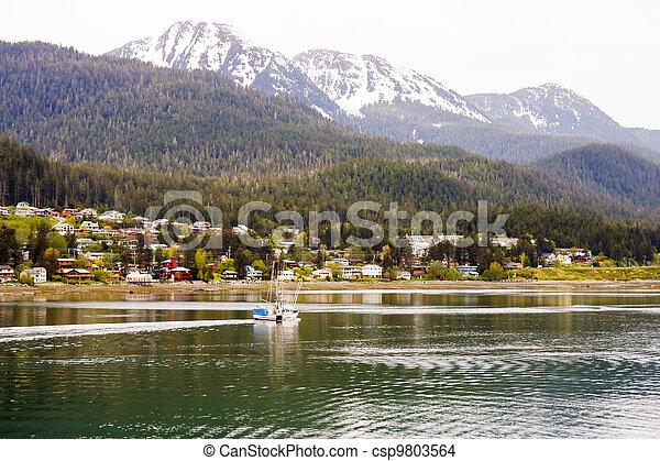 maisons, alaska, passé, peche, côtier, bateau - csp9803564