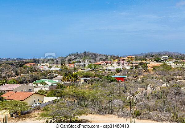 maisons, aruba, désert, coloré - csp31480413