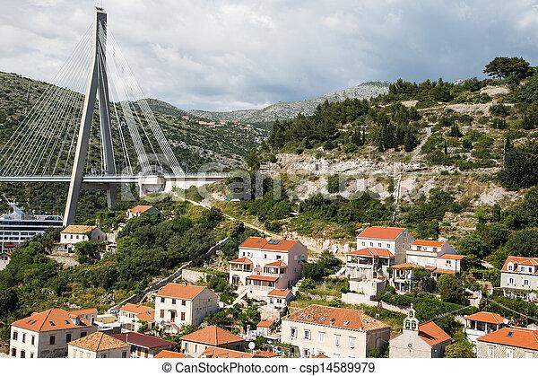 maisons, côtier, gruz, pont - csp14589979
