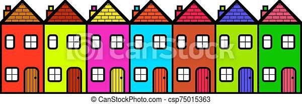 maisons, coloré, rang, dessin animé - csp75015363