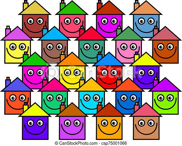 maisons, communauté, heureux - csp75001066