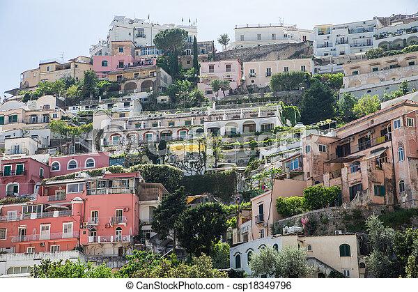maisons, positano, italie, coloré, haut colline - csp18349796