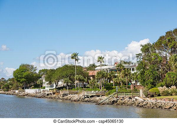maisons, quais, paume, côtier, arbres - csp45065130