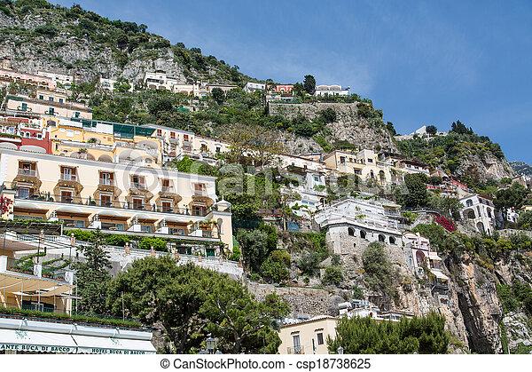 maisons, sur, positano, balcons - csp18738625