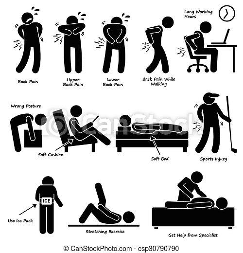mal reins, douleur, dos, pictogramme - csp30790790