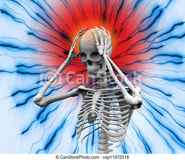 mal tête, numérique, avoir, squelette - csp11972318