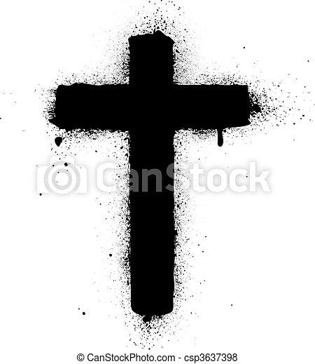 malade, croix, pulvérisation, vecteur, graffiti, encre - csp3637398