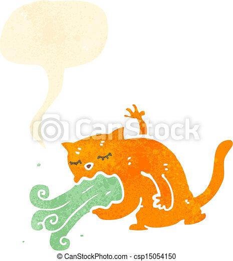 malade, dessin animé, chat - csp15054150
