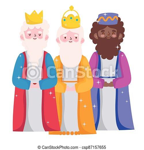mangeoire, dessin animé, rois, caractères, trois, sage, nativité - csp87157655