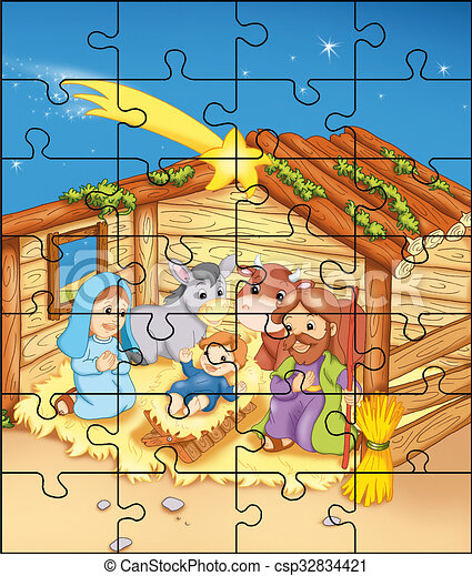 mangeoire, puzzle - csp32834421