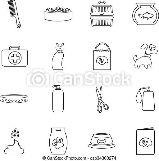 marchandises, ensemble, animaux familiers, icônes - csp34300274