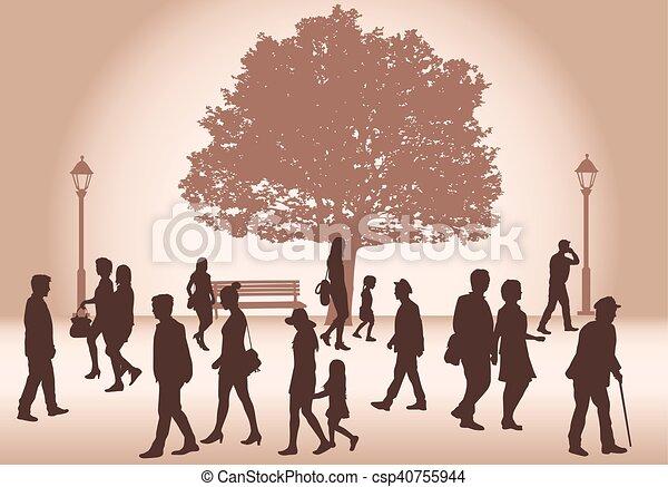 marche., foule, gens - csp40755944